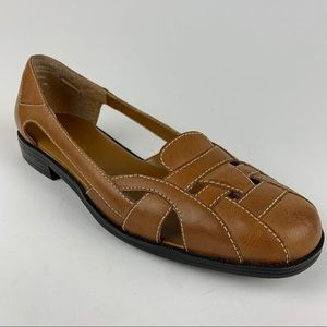 PESARO Gretchen Golden Brown Leather Woven Flats